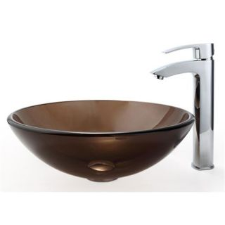 Kraus C GV 103 12mm 1810CH Clear Brown Glass Vessel Sink and Visio Bathroom Faucet Chrome