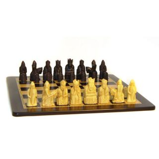 Isle of Lewis Solid Resin Chess Pieces with Ebony/Maple Veneer Board Designed by Studio Anne Carlton   Chess Sets