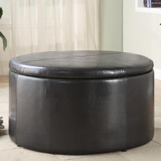 Oxford Creek Contemporary Dark Brown Round Storage Cocktail Table with