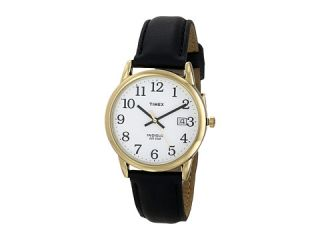 Timex Core Easy Reader Black Leather Strap/Gold Case/White Dial