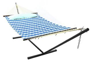 Sunnydaze Decor 12 ft. Sunnydaze Quilted Double Hammock with Metal Stand   Hammock and Stand Sets
