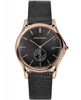 Emporio Armani Mens Swiss Dark Gray Leather Strap Watch 40mm ARS1003
