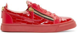 Giuseppe Zanotti: Red Croc Embossed London Sneakers