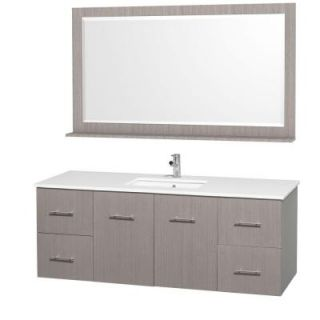 Wyndham Collection Centra 60 in. Vanity in Grey Oak with Man Made Stone Vanity Top in White and Square Porcelain Undermounted Sink WCV00960GOWHSN