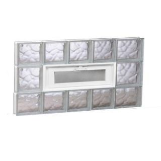 Clearly Secure 32.75 in. x 19.5 in. x 3.125 in. Wave Pattern Vented Glass Block Window 3420VDC