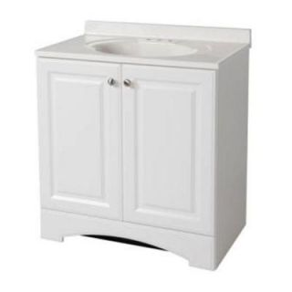 Glacier Bay 30 1/2 in. Vanity in White with AB Engineered Composite Vanity Top in White GB30P2COM WH