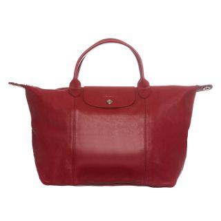 Longchamp Le Pliage Cuir Medium Red Leather Handbag   15686174