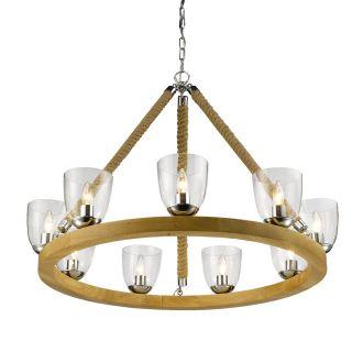 Golden Lighting 3086 9 CH Harland 2 Tier Chandelier in Chrome