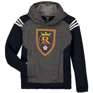 Real Salt Lake adidas Youth Pullover climawarm Hoodie   Heathered Gray