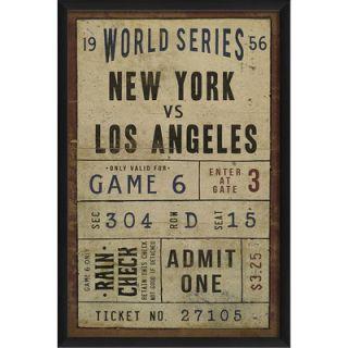 Blueprint Artwork New York vs Los Angeles Ticket Framed Textual Art