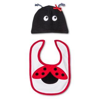 Lovespun Baby 2 Piece Hat & Bib Set   Ladybug