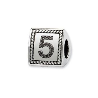 Triangle Block, Number 5 Charm in Silver For 3mm Charm Bracelets