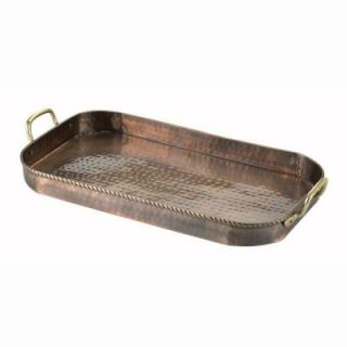Old Dutch 18 in. x 10.5 in. x 1.75 in. Oblong Antique Copper Tray with Cast Brass Handles 861