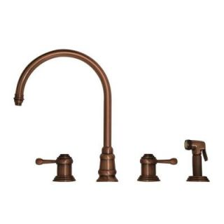 Whitehaus Collection 2 Handle Side Sprayer Kitchen Faucet in Antique Copper WH15664 ACO