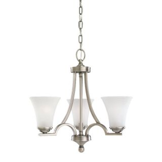 Sea Gull Lighting Somerton 20 in 3 Light Antique Brushed Nickel Etched Glass Shaded Chandelier