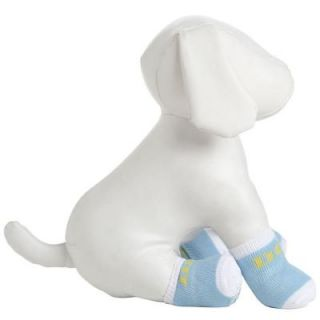 PET LIFE Small Blue and White Dog Socks with Rubberized Soles (Set of 4) F22BWXSSM