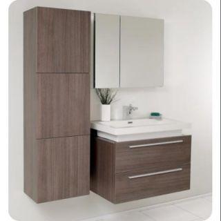 Medio Modern Bathroom Vanity Set in Gray Oak Finish (Bevera Chrome)