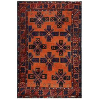 Semi Antique Afghan Hand Knotted Tribal Balouchi Rust/ Navy Wool Rug