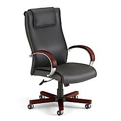 OFM Apex High Back Leather Chair With Wood Accents 46 H x 27 W x 26 D BlackMahogany Frame Black Leather