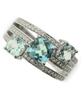 Blue Topaz (2 1/3 ct. t.w.) and Diamond ( 1/4 ct. t.w.) Ring in