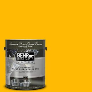 BEHR Premium Plus Ultra 1 gal. #340B 7 Empire Yellow Semi Gloss Enamel Interior Paint 375301