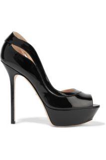 Yin Yang cutout patent leather platform sandals