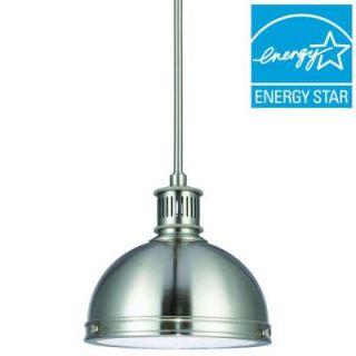 Sea Gull Lighting Pratt Street Metal 1 Light Brushed Nickel Fluorescent Pendant with Glass Diffuser 65085BLE 962