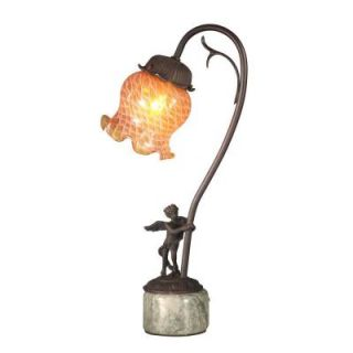 Dale Tiffany Amber Tulip Blown Glass 16.75 in. Antique Bronze Accent Lamp with Cherub Base TA10839