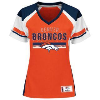 Denver Broncos Majestic Womens Plus Sizes Draft Me Fashion T Shirt   Orange