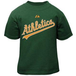 Majestic Oakland Athletics Infant Wordmark Logo Only T Shirt   Green