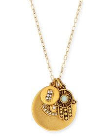 Sequin 22K Gold Plated Talisman Pendant Necklace, 36