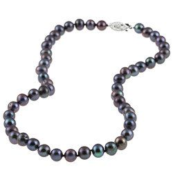 DaVonna Silver Black FW Pearl 16 inch Necklace (6.5 7 mm)   12756569